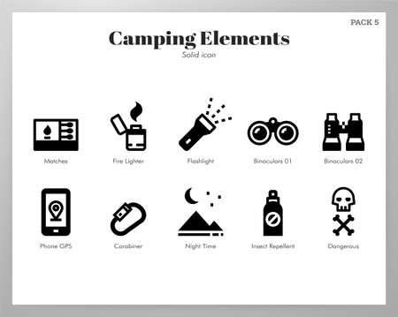 Camping vector illustration in solid color design