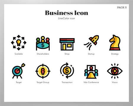 Business vector illustration in line color design