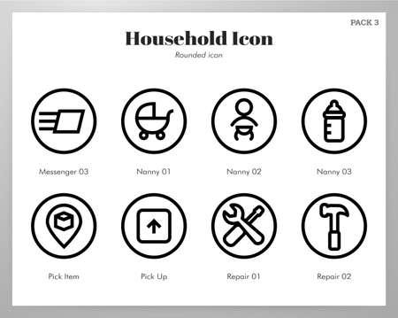 Household vector illustration in rounded line design
