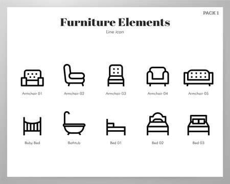 Furniture vector illustration in line stroke design