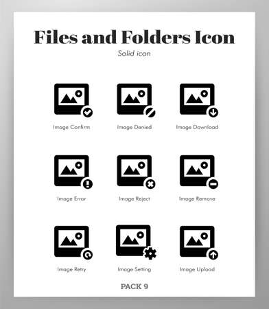 Files and folders vector illustration in solid color design Ilustrace