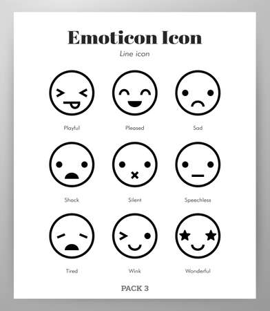 Emoticon vector illustration in line stroke design  イラスト・ベクター素材