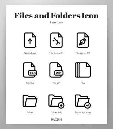 Files and folders vector illustration in line stroke design Ilustração