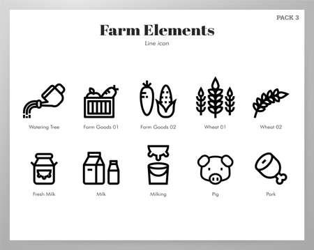 Farm vector illustration in line stroke design