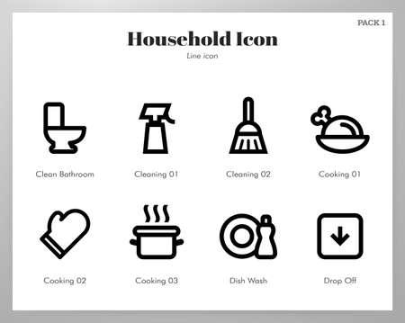 Household vector illustration in line stroke design Illustration