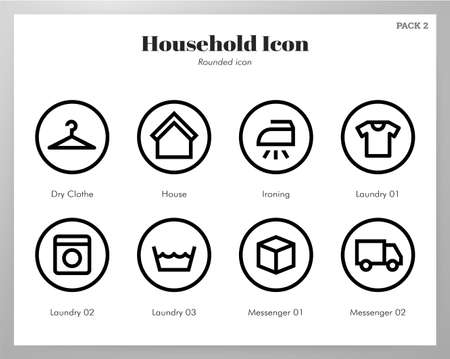Household vector illustration in rounded line design