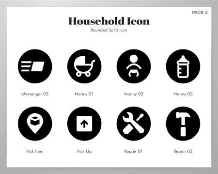 Household vector illustration in rounded solid design Çizim