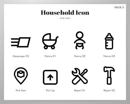 Household vector illustration in line stroke design Stock Illustratie