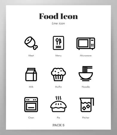 Food vector illustration in line stroke design