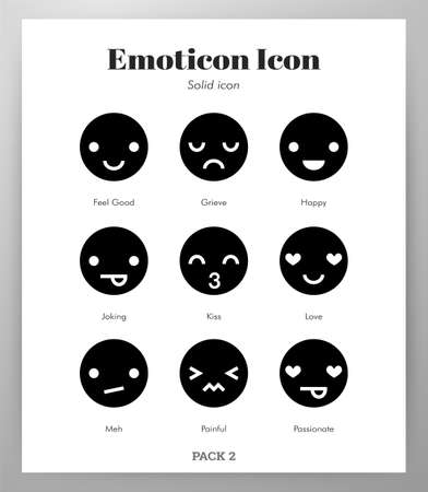Emoticon vector illustration in solid color design