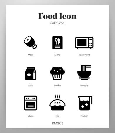 Food vector illustration in solid color design Stock Illustratie