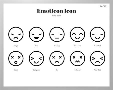Emoticon vector illustration in line stroke design Stock Illustratie