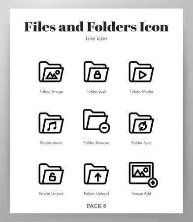 Files and folders vector illustration in line stroke design Stock Illustratie