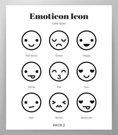Emoticon vector illustration in line stroke design Ilustração