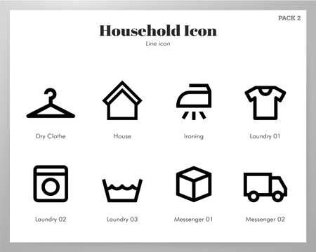 Household vector illustration in line stroke design Ilustração