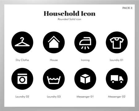 Household vector illustration in rounded solid design Illustration