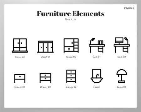 Furniture vector illustration in line stroke design