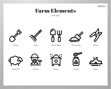 Farm vector illustration in line stroke design