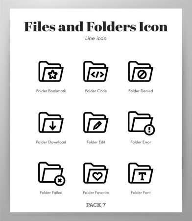 Files and folders vector illustration in line stroke design Ilustrace