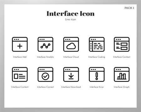 Interface vector illustration in line stroke design