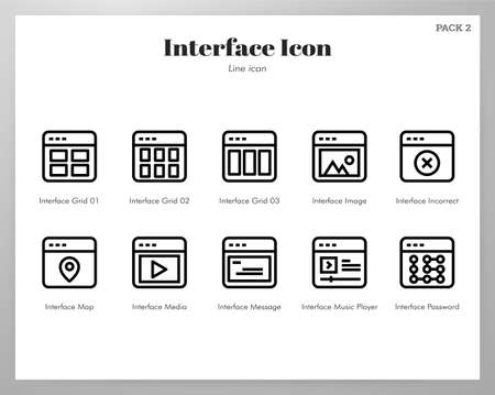 Interface vector illustration in line stroke design