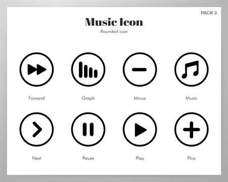 Illustration vectorielle de musique dans la conception de lignes arrondies