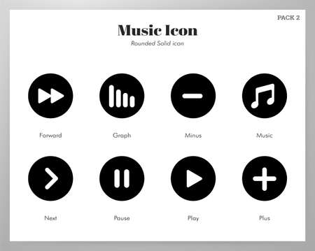 Music vector illustration in rounded solid design Stock Illustratie