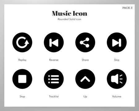 Music vector illustration in rounded solid design Illustration