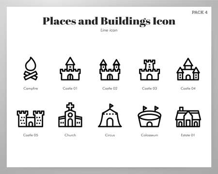 Places and buildings vector illustration in line stroke design Stock Illustratie