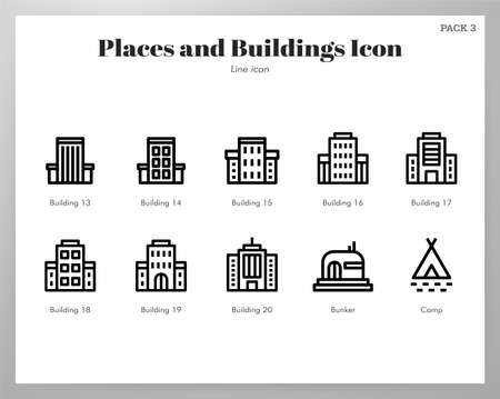 Places and buildings vector illustration in line stroke design Ilustração