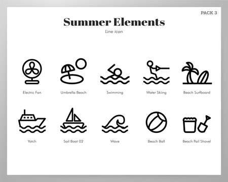 Summer holiday vector illustration in line stroke design