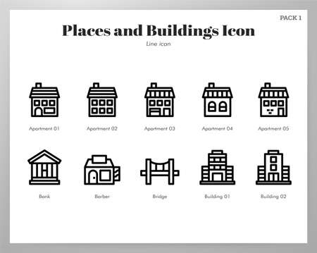 Places and buildings vector illustration in line stroke design Çizim