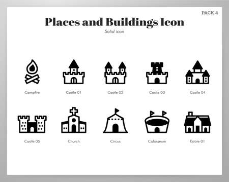 Places and buildings vector illustration in solid color design Stock Illustratie