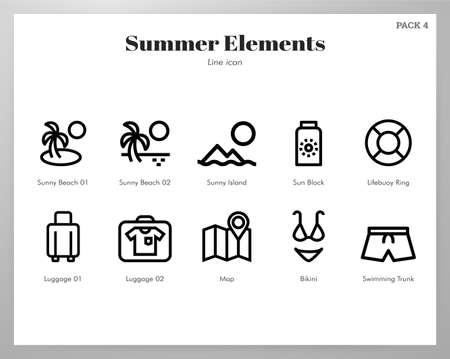 Summer holiday vector illustration in line stroke design