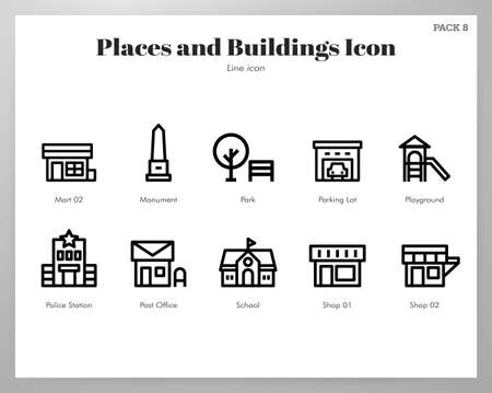Places and buildings vector illustration in line stroke design  イラスト・ベクター素材
