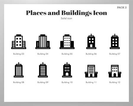 Places and buildings vector illustration in solid color design Çizim