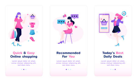 female shopping flat illustration with app introduction slider page layout
