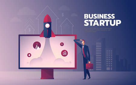 Business man with monitor and rocket vector illustration with text layout