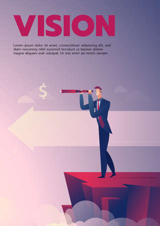 Business man with telescope standing on the cliff vector illustration with text layout
