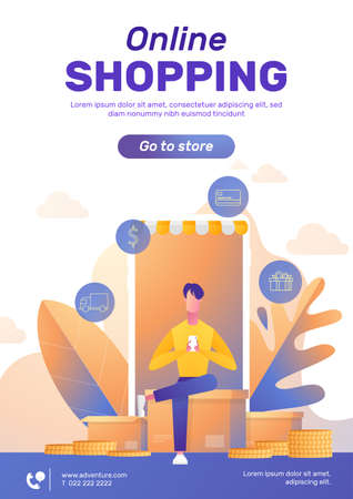 A man shopping online with smartphone vector poster with text layout