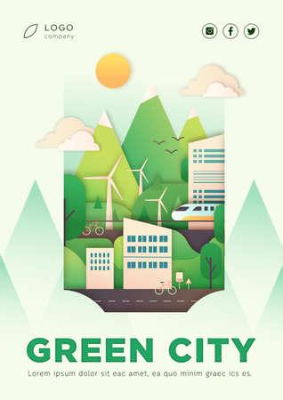 Cartel de ilustración de vector de ciudad ecológica con diseño de texto