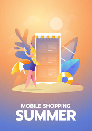 A man with smartphone shopping online on the beach vector illustration with text layout Stock Illustratie