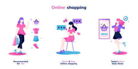 female and online shopping action flat illustration