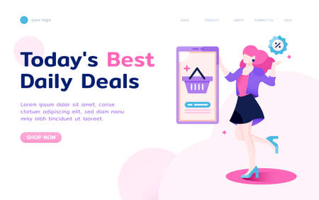 female with smartphone and shopping basket flat illustration in landing page layout Stock Illustratie