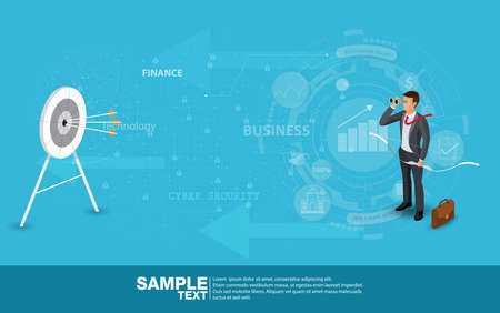 Time Business Leader Concept Finance Manager Business Man Stand on rocket.Flat Isometric People Executive Manager Vector Investor trader Business future vision Individual success