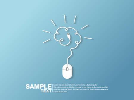 Creative brain idea concept and computer mouse symbol. Progression of idea concept. Business, education and industrial idea. Vector illustration