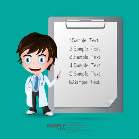 Full length of doctor pointing at sample text medical clipboard. Vector illustration