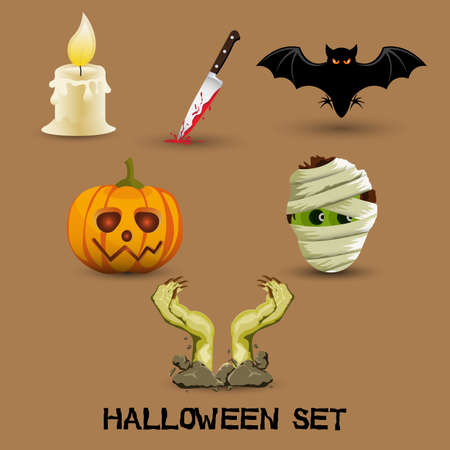 ector illustration of collection of Halloween icon set