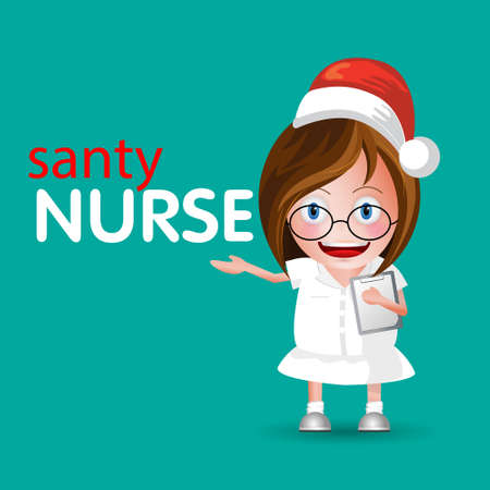 Nurse at work. Vector illustration of santa nurse.