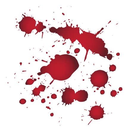 Drops of blood background with bright red splash. Vector illustration. Splash liquid, stain ink,Happy halloween.